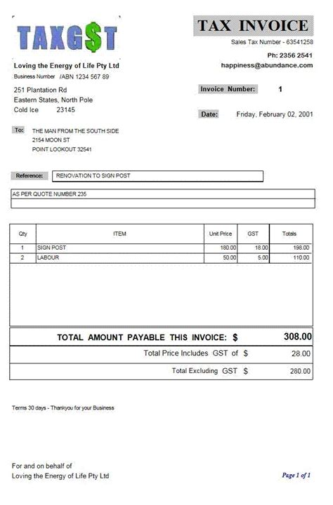 Canadian Invoice Template Free To Do List Form Of Invoice Template