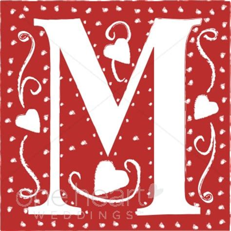 Red Letter M Clipart | Wedding Heart Font M Letter In Heart
