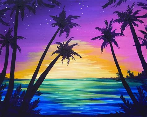 paint nite island events paint nite palms at sunset