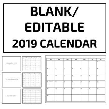 blankeditable  calendar template google  tpt