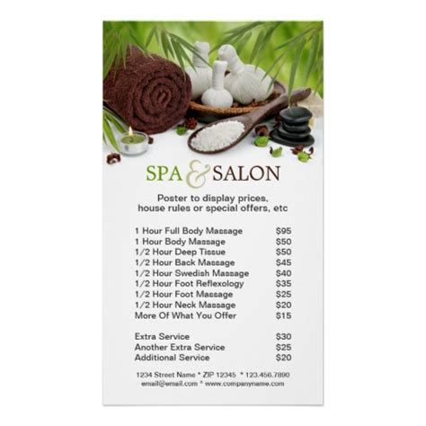 spa massage salon menu of services poster price list
