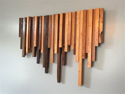 Wooden Wall Art Cherry And Walnut Strips Wall Decor Wood Wooden Wall Decoration