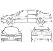 CAR Blueprints  2005 Chevrolet Impala Sedan Blueprint