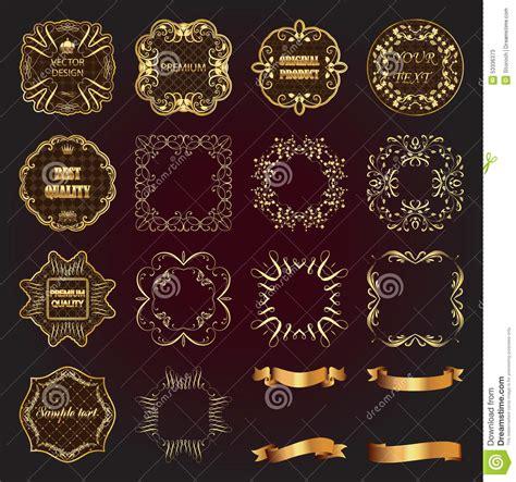 gold vintage design elements vector set of vintage gold design elements labels frames