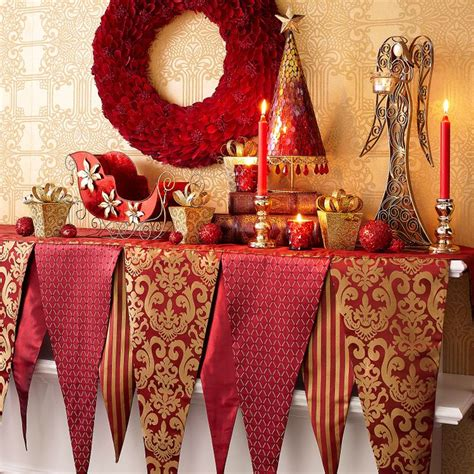 christmas poinsettia fireplace mantel scarf mantel scarf red gold mantle ideas