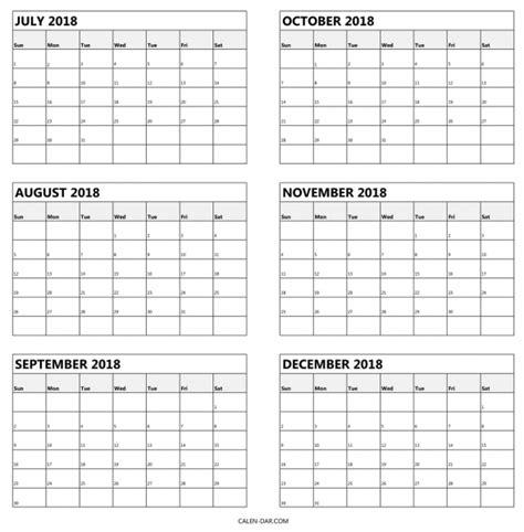 July 2018 To December 2017 Printable Calendar Template 2016