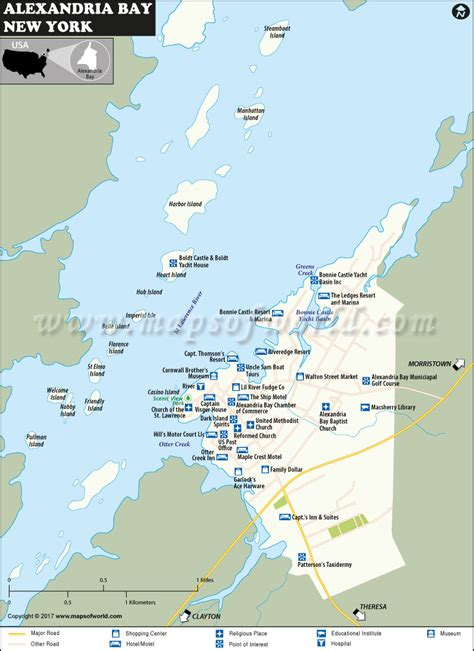 map of new york villages alexandria bay map in jefferson county new york usa