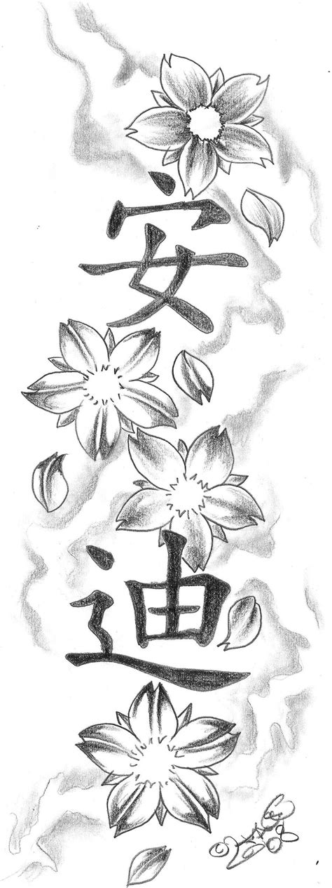 chinese flowers tattoo designs blossom kanji design by 2face on deviantart