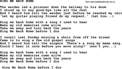 sing me back home by merle haggard lyrics