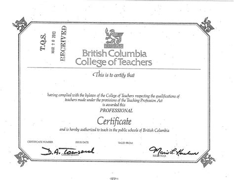 Bc Certificate Records Tqs Bc Ca Glossary Columbia Teaching Certificate