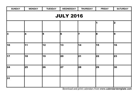 free 2016 calendar template free printable july calendars 2016 calendar template