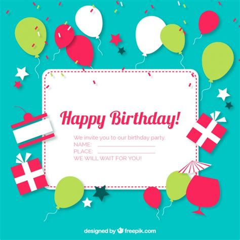 An Invitation Card For A Birthday Free Vector Birthday Invitation Card 13496 My Graphic Hunt