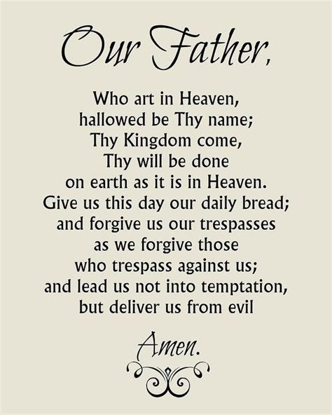 printable version of the lord s prayer image gallery our father prayer catholic