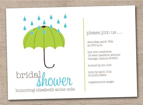 Household Shower Invitations by Printable Bridal Shower Invitations Green By