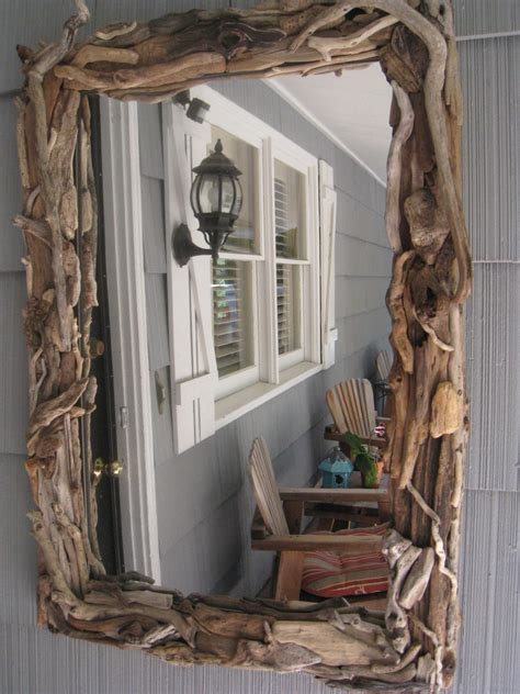driftwood mirror decor home decor cottage driftwood ooak