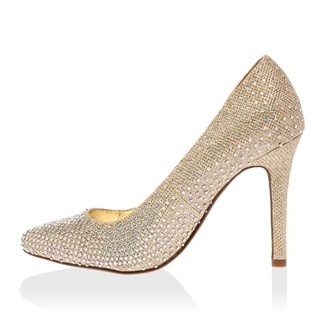 gold sparkly shoes new womens sparkly gold glitter pointy stiletto