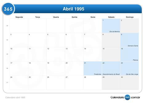 Calendario De 1995 Calend 225 Abril 1995