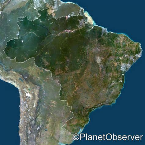 satellite map of brazil brazil south america satellite image planetobserver