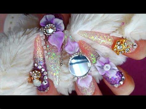 japanese bling nails long stiletto acrylic nails youtube