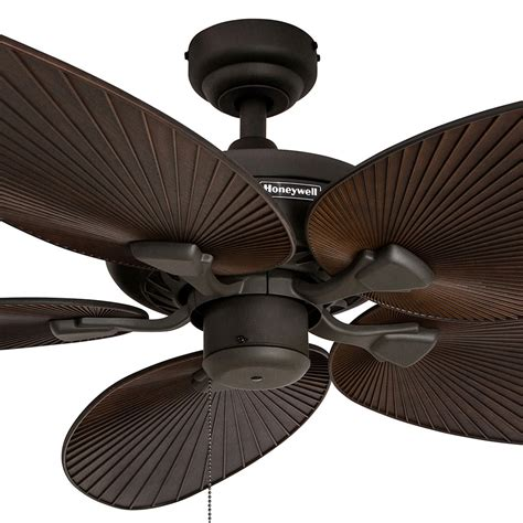 Palm Blade Ceiling Fan With Light by Honeywell Palm Island Ceiling Fan Bronze Finish 52 Inch