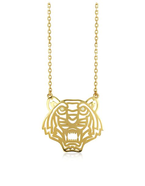 lyst kenzo gold plated tiger necklace  metallic