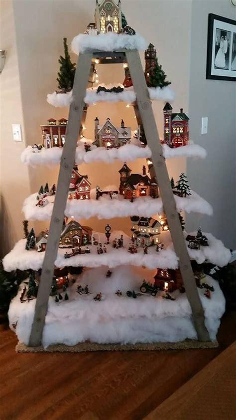 double ladder  shelf unit christmas tree village