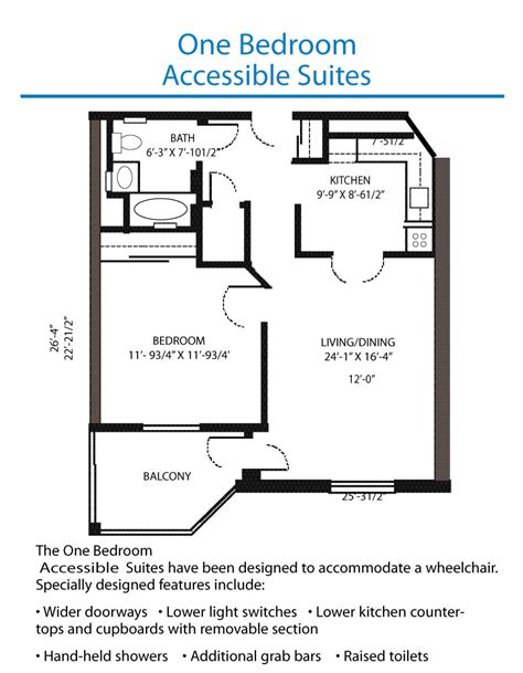 Bedroom Floor Plan Floor Plan Of The Accessible One Bedroom Suite Quinte Living Centre