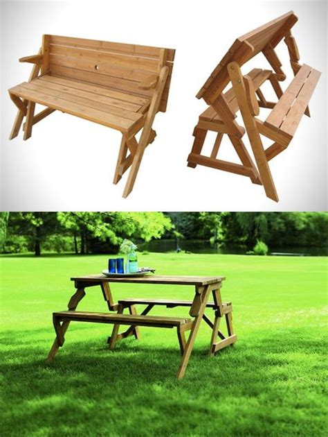 bench becomes picnic table a garden bench turns into a picnic table for the home