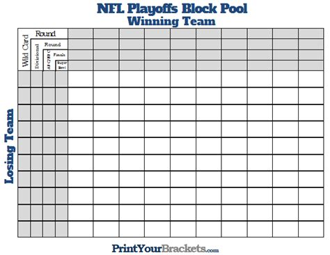 nfl pool template printable nfl playoffs block pool