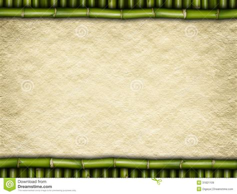 Paper From Bamboo - blank paper sheet on bamboo sticks royalty free stock