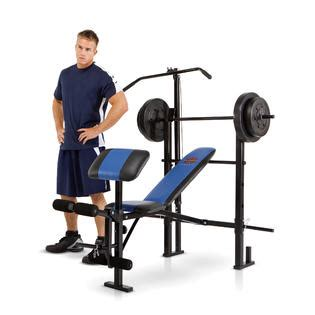 kmart bench press marcy standard bench w lat bar 120 lb weight set