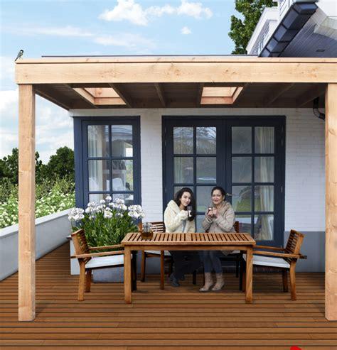 veranda zwart hout aanbouw veranda douglas hout 300 x 300 cm plat dak