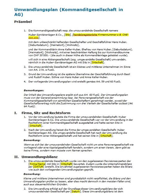 Vertragsvorlagen Muster Umwandlungsvertrag Kommanditgesellschaft In Ag Muster Zum