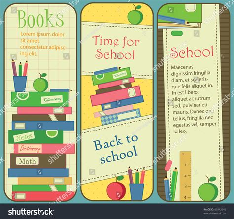 printable bookmarks for high school students vertical school book banners bookmarks stock vector
