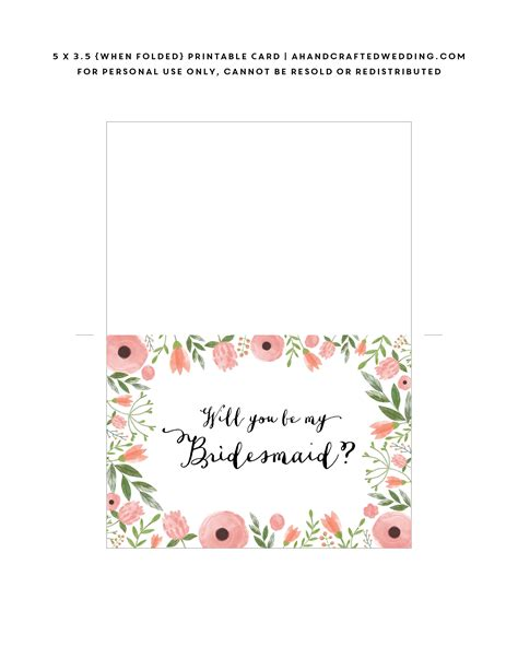 print card template free printable will you be my bridesmaid card mountain