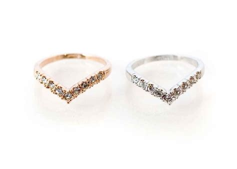 rhinestone studded ring gold or silver rhinestone studded chevron ring ships from
