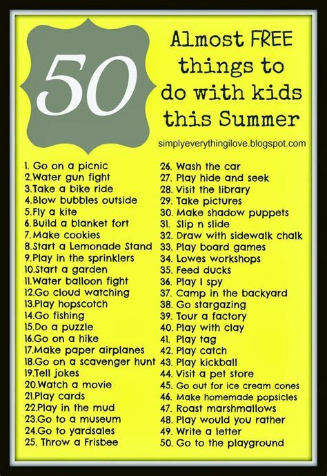 whats free for 50 yrolds 50 almost free things to do with kids this summer free