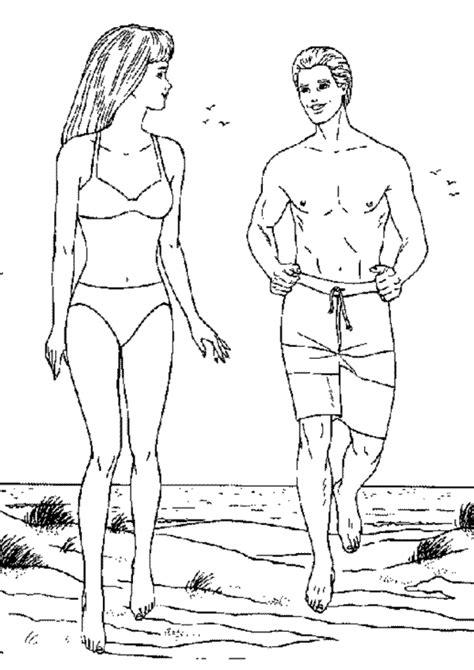Colorir desenho de Barbie e amigo na praia – Desenhos para