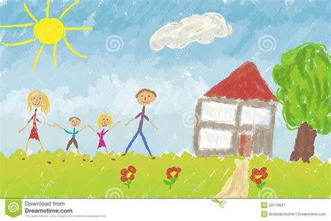 Design Your Dream House by Happy Family In Front Of Their House Royalty Free Stock