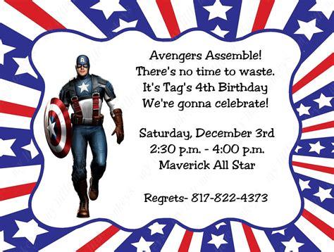 Captain America Birthday Card 10 Captain America Invitations With Envelopes Free Return