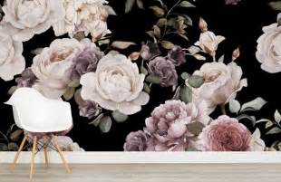Floral Wall Mural purple and pink dark floral wall mural murals wallpaper