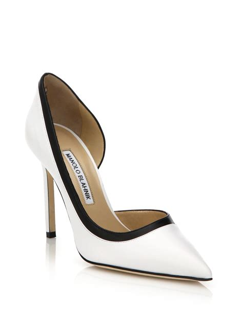 manolo blahnik collette two tone leather pumps in white lyst