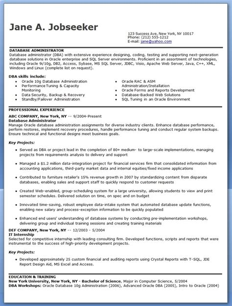Entry Level Dba Resume Sle Dba Administrator Resume Sle Database Administrator
