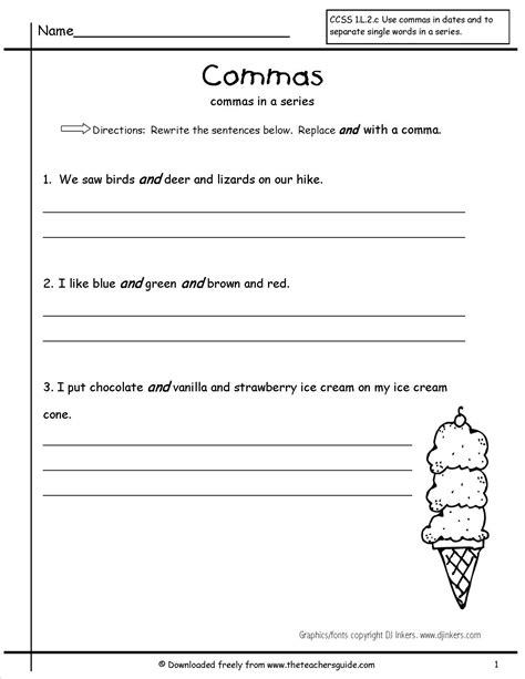 commas in a series worksheet journeys lesson 20 dex the