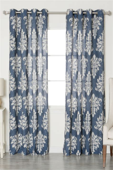 navy linen curtains best home fashion inc linen blend medina grommet top