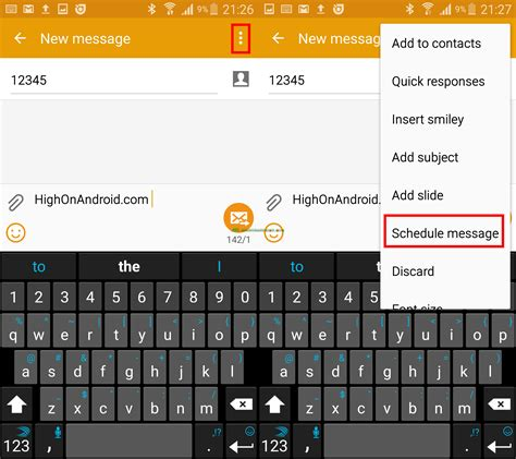 how to send scheduled messages on you samsung galaxy device howto highonandroid