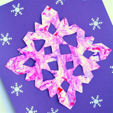 snowflake pattern for preschool marble painted snowflake craft winter art for kids