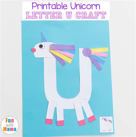 printable alphabet letters for crafts printable letter u craft unicorn fun with mama