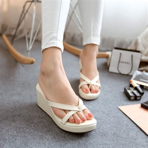 Sandal Wedges Korea 112 2015 new korean small thick soled platform shoes shoes sandals wedges solid flip