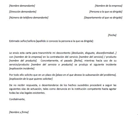 ejemplo carta de reclamaci 243 n gener 237 ca carta